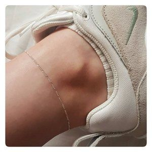 Dainty Sterling Silver Figaro Anklet